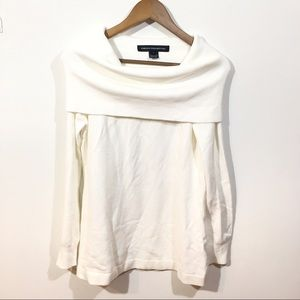 French Connection White Sweater Large